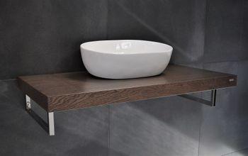 Bild 4 - Edler Waschtisch MN-60H Carl Svensson Waschtischplatte Waschkonsole Eiche dunkel inklusive Handtuchhalter