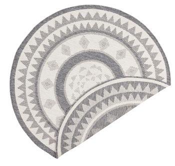 Bild 4 - In- & Outdoor Design Wendeteppich Teppich Wintergarten 140 cm rund Jamaica Grau Creme OD-18