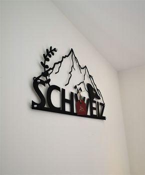 Bild 6 - Design 3D Wandbild 34 x 65 cm Schweiz Gebirge Flagge Switzerland Metallbild Wanddeko Archtwain Studio Design Industrie Look MD-118