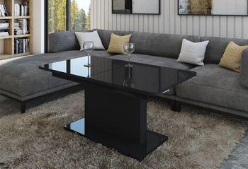 Design Couchtisch Tisch DC-1 Schwarz Hochglanz stufenlos höhenverstellbar ausziehbar