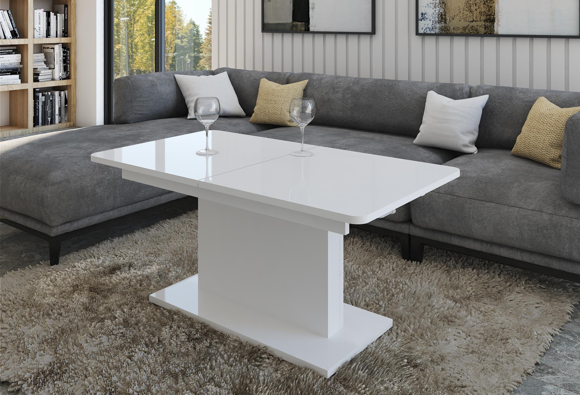 design couchtisch dc 1 wei hochglanz stufenlos. Black Bedroom Furniture Sets. Home Design Ideas