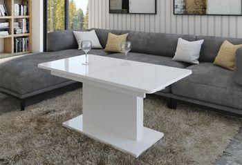 Design Couchtisch Tisch DC-1 Weiß Hochglanz stufenlos höhenverstellbar ausziehbar