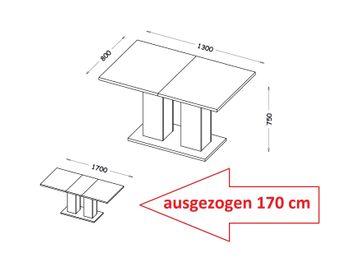 Bild 5 - Design Esstisch Tisch DE-1 Weiß Hochglanz ausziehbar 130 bis 170 cm