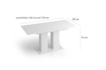 Bild 3 - Design Esstisch Tisch DE-1 Weiß Hochglanz ausziehbar 130 bis 170 cm