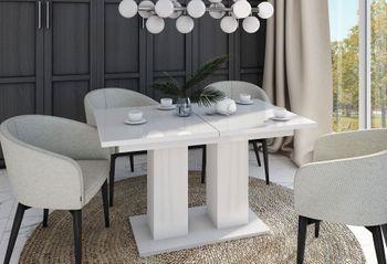 Bild 7 - Design Esstisch Tisch DE-1 Weiß Hochglanz ausziehbar 130 bis 170 cm