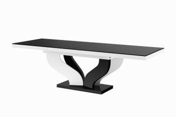 Design Esstisch Tisch HEB-222 Schwarz / Weiß Hochglanz ausziehbar 160 bis 256 cm