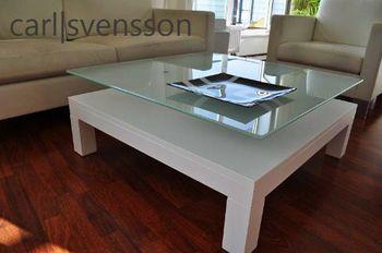 Bild 4 - Design Couchtisch Tisch V-570H Weiß Milchglas Carl Svensson