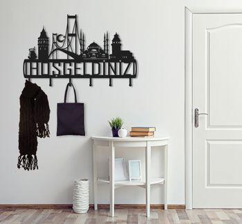 Bild 2 - Design 3D Garderobe Kleiderhaken 50 x 80 cm Hosgeldiniz Deko Wanddeko Archtwain Studio Design Industrie Look MD-132