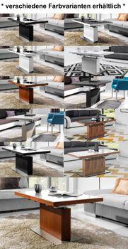 Bild 4 - Design Couchtisch Tisch MN-3 Kirschbaum Kirsche Weißglas höhenverstellbar & ausziehbar Esstisch