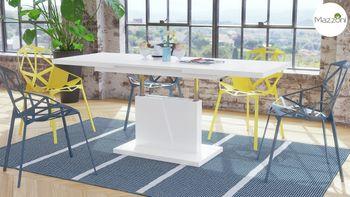 Bild 4 - Design Couchtisch Tisch Grand Noir Weiß matt stufenlos höhenverstellbar ausziehbar 120 bis 180cm Esstisch