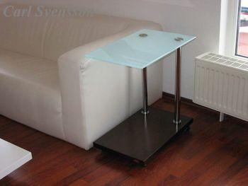 Design Beistelltisch Tisch Ecktisch Walnuss / Wenge V-270 Milchglas