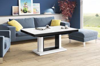 Bild 6 - Design Couchtisch Tisch H-120 Weiß / Schwarz Hochglanz stufenlos höhenverstellbar ausziehbar Esstisch