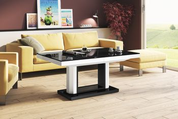 Design Couchtisch Tisch H-120 Schwarz / Weiß Hochglanz stufenlos höhenverstellbar ausziehbar Esstisch
