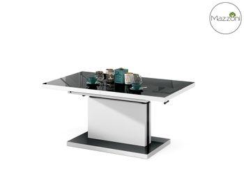 Bild 6 - Design Couchtisch Tisch Aston Schwarz Hochglanz / Weiß matt stufenlos höhenverstellbar ausziehbar 120 bis 200cm Esstisch