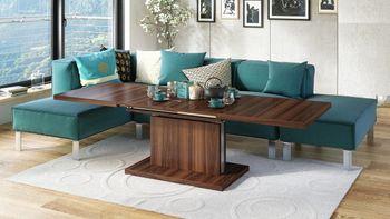 Bild 11 - Design Couchtisch Tisch Aston Nussbaum Walnuss stufenlos höhenverstellbar ausziehbar 120 bis 200cm Esstisch