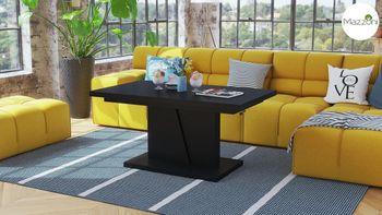 Bild 2 - Design Couchtisch Tisch Grand Noir Schwarz matt stufenlos höhenverstellbar ausziehbar 120 bis 180cm Esstisch