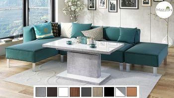 Design Couchtisch Tisch Aston Weiß Hochglanz / Beton Betonoptik stufenlos höhenverstellbar ausziehbar 120 bis 200cm Esstisch