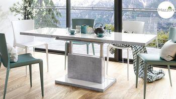 Bild 4 - Design Couchtisch Tisch Aston Weiß Hochglanz / Beton Betonoptik stufenlos höhenverstellbar ausziehbar 120 bis 200cm Esstisch