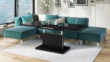 Bild 9 - Design Couchtisch Tisch Aston Schwarz Matt stufenlos höhenverstellbar ausziehbar 120 bis 200cm Esstisch