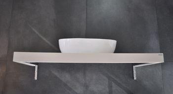 Bild 2 - Edler Waschtisch Carl Svensson MN-120  Creme Seidenmatt Waschtischplatte Waschkonsole inklusive Halterung