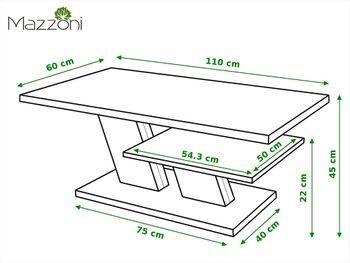 Bild 2 - Design Couchtisch Tisch Cliff Weiß matt / Beton Betonoptik Wohnzimmertisch 110x60x45cm mit Ablagefläche