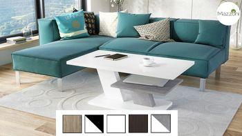 Design Couchtisch Tisch Cliff Weiß matt / Beton Betonoptik Wohnzimmertisch 110x60x45cm mit Ablagefläche