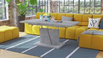 Bild 12 - Design Couchtisch Tisch Grand Noir Beton Betonoptik stufenlos höhenverstellbar ausziehbar 120 bis 180cm Esstisch