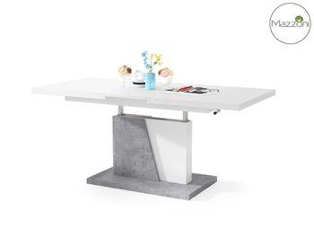 Bild 8 - Design Couchtisch Tisch Grand Noir Weiß matt / Beton Betonoptik stufenlos höhenverstellbar ausziehbar 120 bis 180cm Esstisch