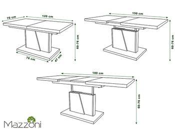 Bild 5 - Design Couchtisch Tisch Grand Noir Weiß matt / Beton Betonoptik stufenlos höhenverstellbar ausziehbar 120 bis 180cm Esstisch