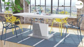 Bild 4 - Design Couchtisch Tisch Grand Noir Weiß matt / Beton Betonoptik stufenlos höhenverstellbar ausziehbar 120 bis 180cm Esstisch