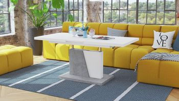 Bild 11 - Design Couchtisch Tisch Grand Noir Weiß matt / Beton Betonoptik stufenlos höhenverstellbar ausziehbar 120 bis 180cm Esstisch
