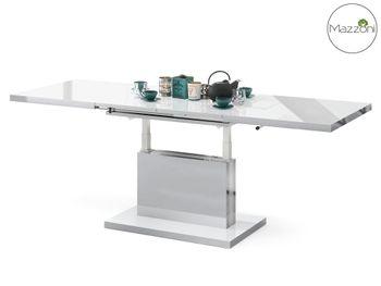 Bild 10 - Design Couchtisch Tisch Aston Weiß Hochglanz  / Silber Metallic stufenlos höhenverstellbar ausziehbar 120 bis 200cm Esstisch