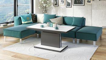 Design Couchtisch Tisch Aston Weiß / Anthrazit matt stufenlos höhenverstellbar ausziehbar 120 bis 200cm Esstisch