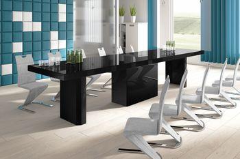 Design Esstisch Tisch HE-444 Schwarz Hochglanz XXL ausziehbar 160 bis 412 cm