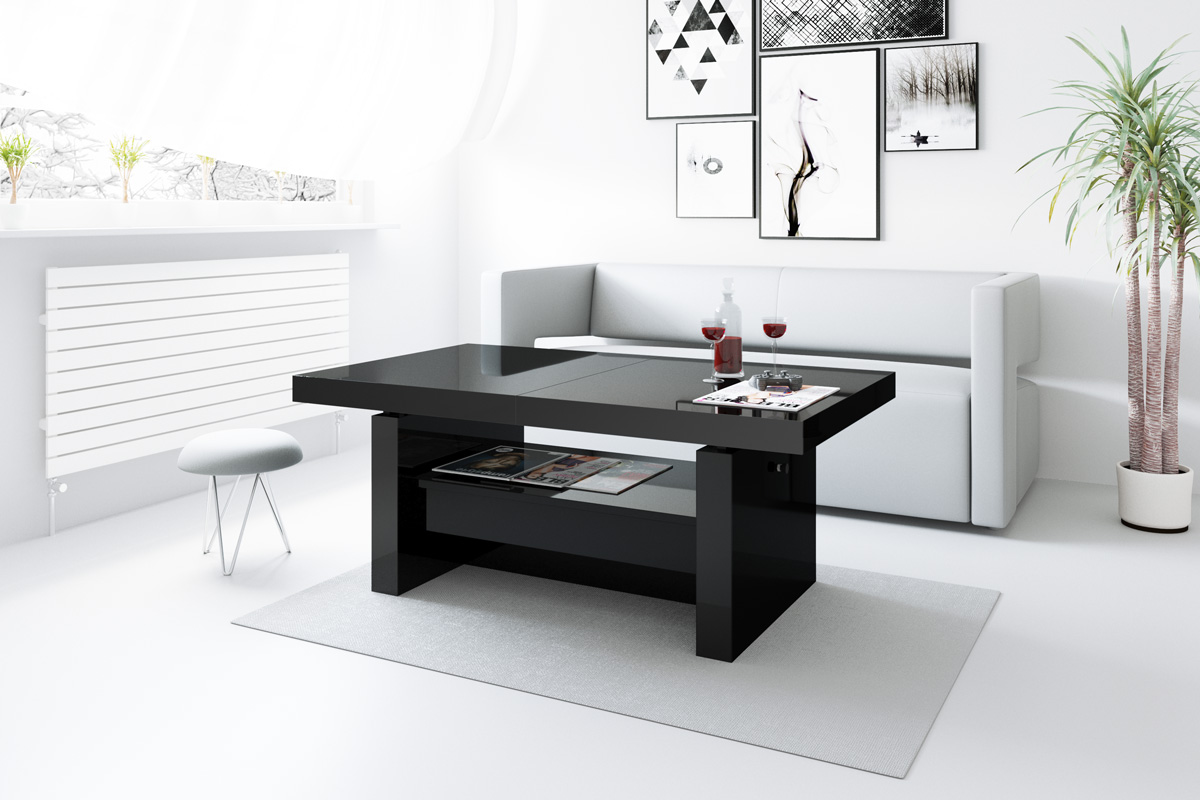design couchtisch h 111 schwarz hochglanz schublade h henverstellbar ausziehbar couchtische. Black Bedroom Furniture Sets. Home Design Ideas