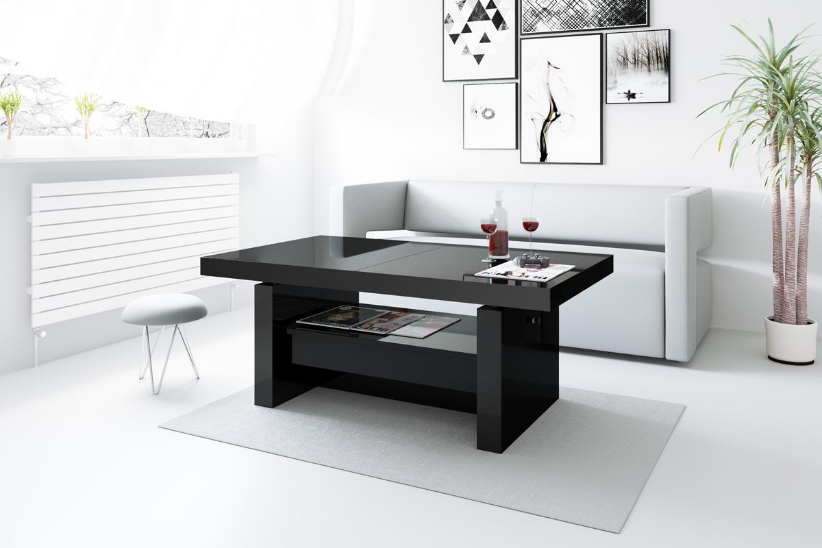 design couchtisch aversa h 111 schwarz hochglanz schublade. Black Bedroom Furniture Sets. Home Design Ideas