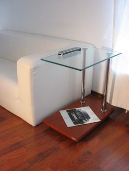 Bild 4 - Design Beistelltisch Tisch Ecktisch V-270 Kirschbaum Kirsche Glas Carl Svensson