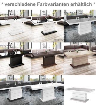Bild 10 - Design Couchtisch Matera Lux H-333 Schwarz Hochglanz höhenverstellbar ausziehbar Tisch Esstisch