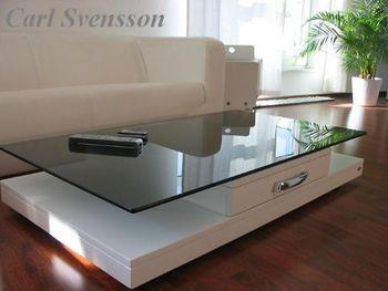 Bild 4 - Design Couchtisch Weiß V-470 getöntes Glas Carl Svensson