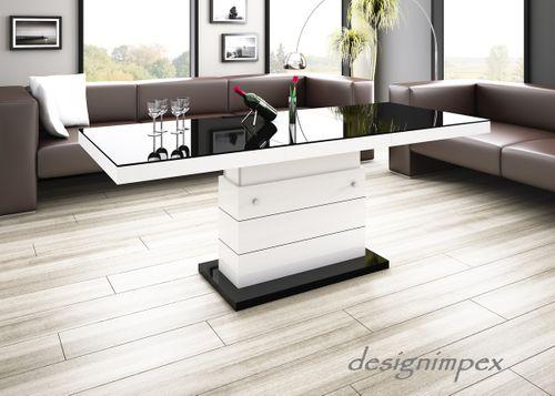 Design Couchtisch Matera Lux H-333 Schwarz / Weiß Hochglanz höhenverstellbar ausziehbar Wohnzimmertisch