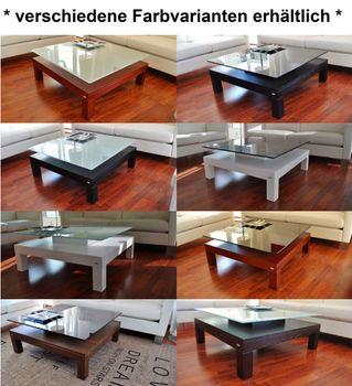 Bild 5 - Design Couchtisch Tisch V-570H Nussbaum / Walnuss Milchglas Carl Svensson