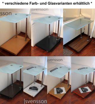 Bild 4 - Design Beistelltisch Nussbaum / Walnuss V-270 Milchglas Carl Svensson