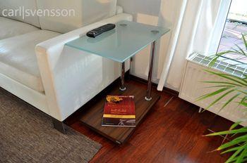Bild 3 - Design Beistelltisch Tisch Nussbaum / Walnuss V-270 Milchglas Carl Svensson