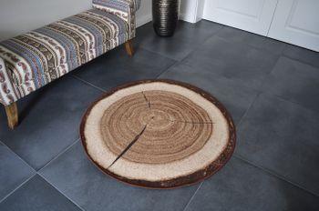 Design Teppich rund Holz Baumstamm Holzmuster 100 cm Baumscheibe HR-4