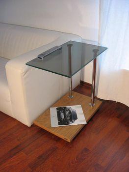 Design Beistelltisch Ecktisch Eiche hell Zebrano V-270 getöntes Glas