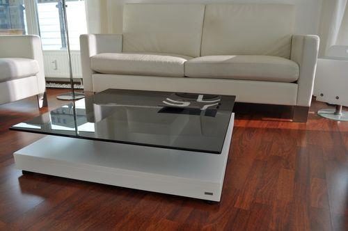 Design Couchtisch Tisch V-570 Weiß getöntes Glas Carl Svensson