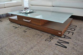 Bild 7 - Design Couchtisch Tisch V-470 Nussbaum / Walnuss Milchglas Carl Svensson