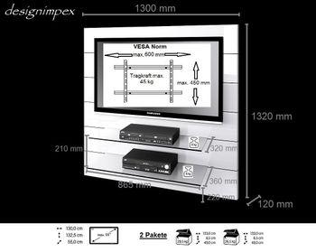 Bild 2 - TV Wand HN-111 Weiß Hochglanz TV Rack LCD inkl. TV-Halterung