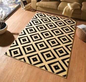 design teppich raute 160 x 230 cm schwarz creme ut 15 neu 4260316185044 ebay. Black Bedroom Furniture Sets. Home Design Ideas