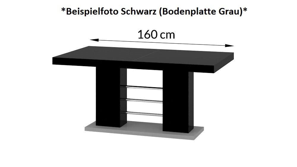 Esstisch ausziehbar grau  Design Esstisch HE-111 Weiß - Grau Hochglanz ausziehbar 160 / 210 ...